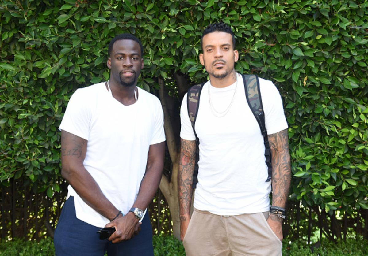 Draymond Green and Matt Barnes attend Athletes vs. Cancer Pool Party on August 5, 2017 in Beverly Hills, California.