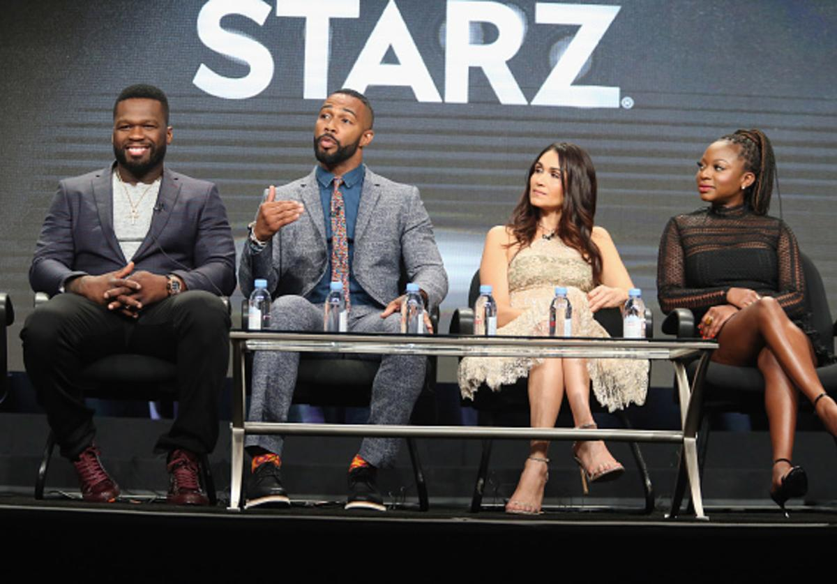 Executive producer/actor Kurtis '50 Cent' Jackson, actor Omari Hardwick, Lela Loren and Naturi Naughton speak onstage during the 'Power' panel discussion at the Starz portion of the 2016 Television Critics Association Summer Tour at The Beverly Hilton Hotel on August 1, 2016 in Beverly Hills, California.