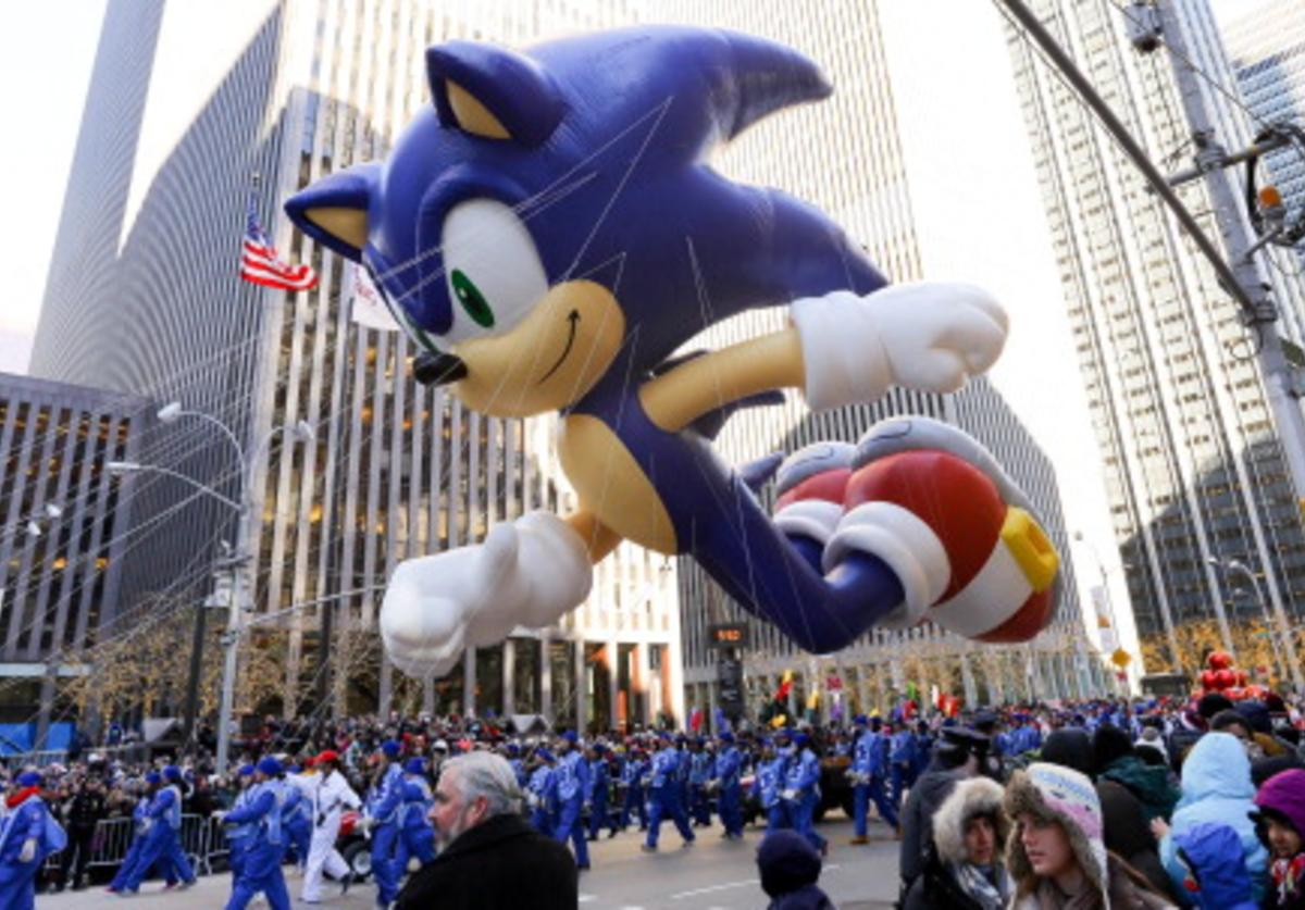 The Sonic the Hedgehog balloon is seen during the 87th Annual Macy's Thanksgiving Day Parade on November 28, 2013 in New York City