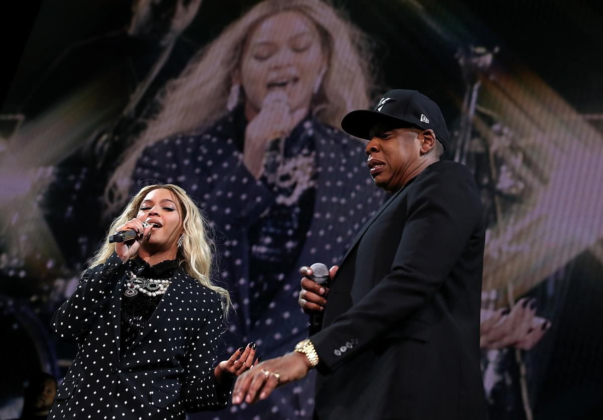 Recording artists Beyonce and Jay Z perform during a Get Out The Vote concert Democratic presidential nominee former Secretary of State Hillary Clinton at Wolstein Center on November 4, 2016 in Cleveland, Ohio. With less than a week to go until election day, Hillary Clinton is campaigning in Pennsylvania, Ohio and Michigan.
