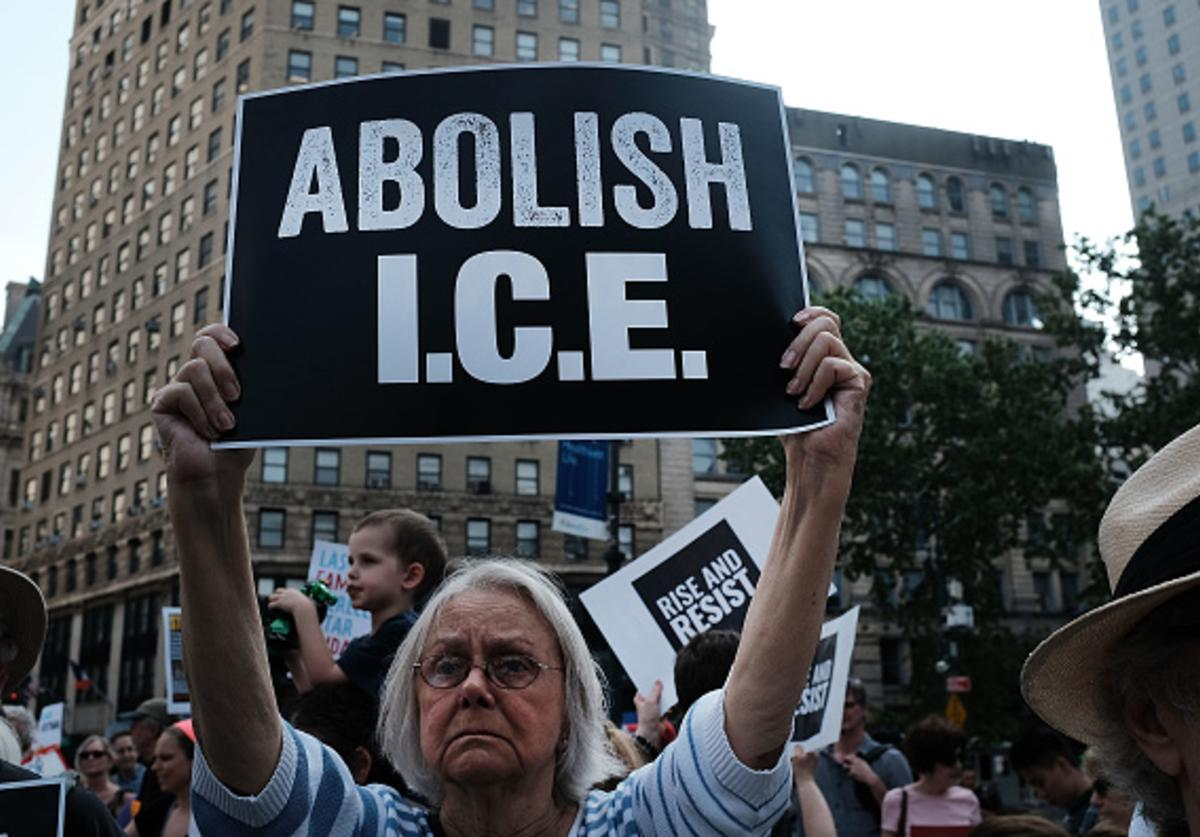 Hundreds of immigrant rights advocates and others participate in rally and and demonstration at the Federal Building in lower Manhattan against the Trump administration's policy that enables federal agents to take migrant children away from their parents at the border on June 1, 2018 in New York, United States.