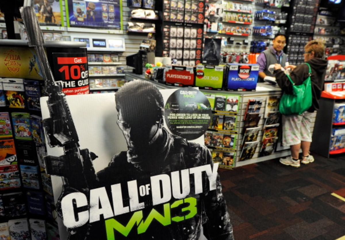 A cardboard display advertises the highly anticipated video game, 'Call Of Duty: Modern Warfare 3' at a GameStop Corp. store November 6, 2011 in Las Vegas, Nevada.
