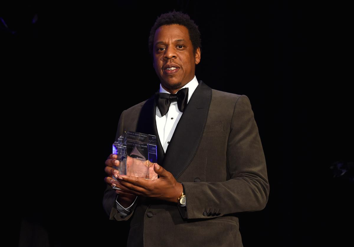 Honoree Jay-Z accepts the President's Merit Award onstage during the Clive Davis and Recording Academy Pre-GRAMMY Gala and GRAMMY Salute to Industry Icons Honoring Jay-Z on January 27, 2018 in New York City.