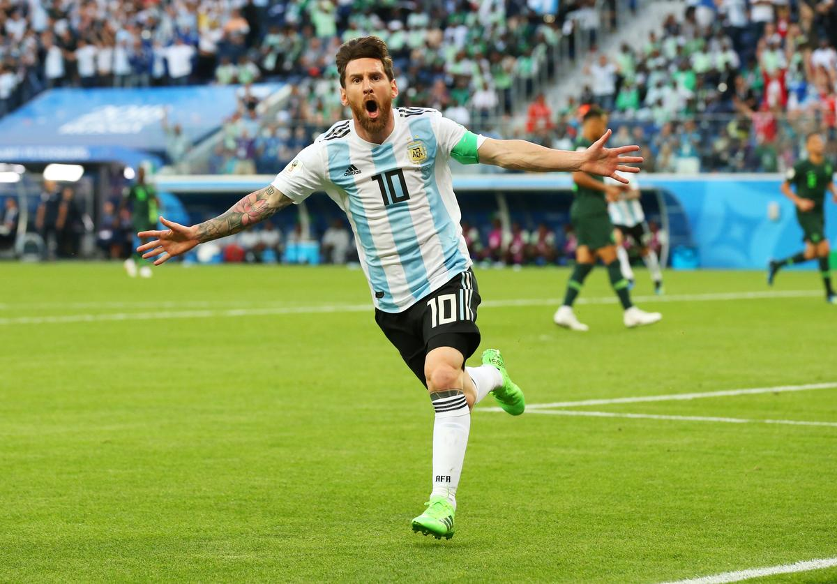Lionel Messi of Argentina celebrates after scoring his team's first goal during the 2018 FIFA World Cup Russia group D match between Nigeria and Argentina at Saint Petersburg Stadium on June 26, 2018 in Saint Petersburg, Russia