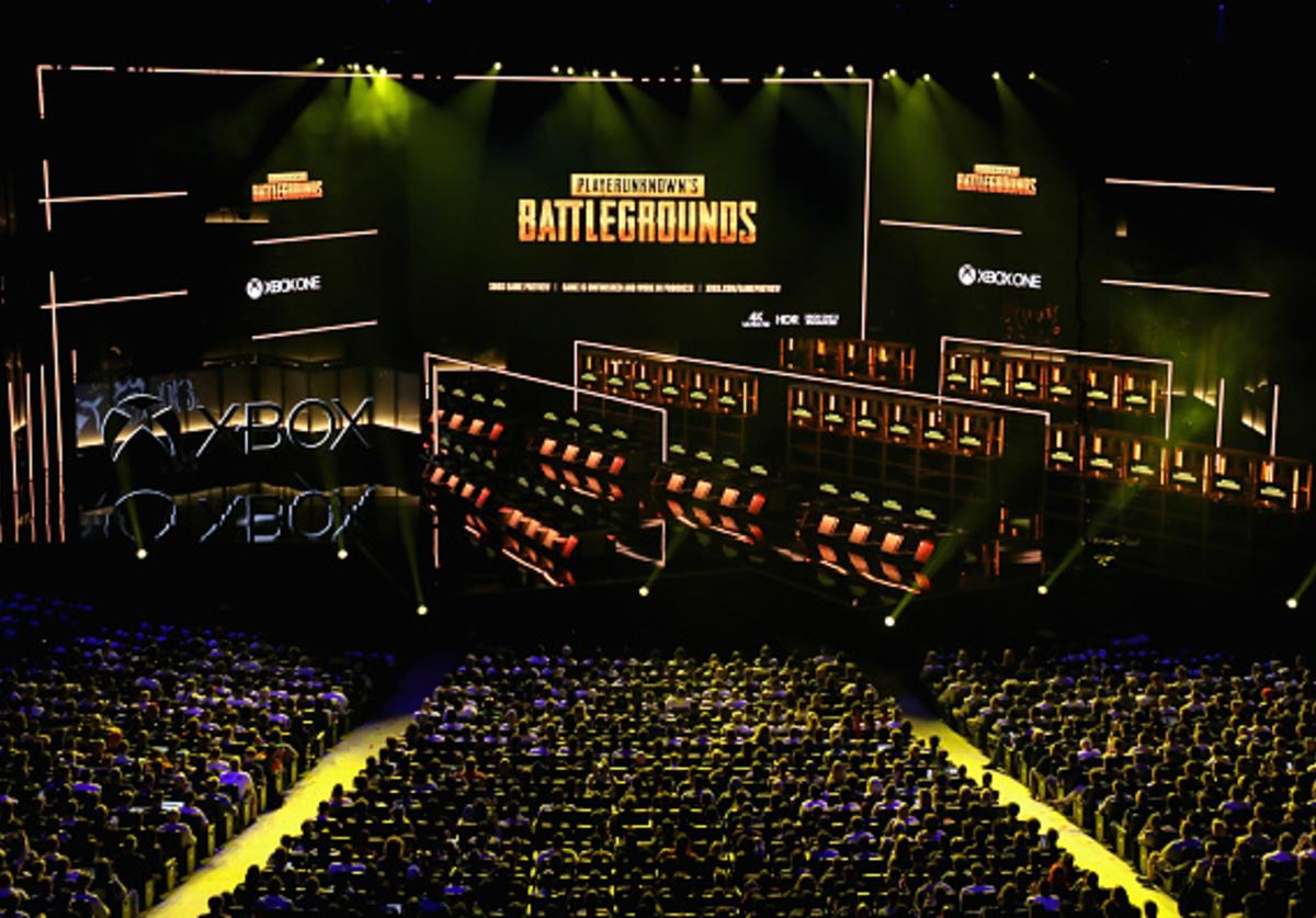 Updates to 'Player Unknown's Battle Ground' by PUBG Corporation are announced during the Microsoft xBox E3 briefing at the Microsoft Theater on June 10, 2018 in Los Angeles, California. The E3 Game Conference begins on Tuesday June 12.
