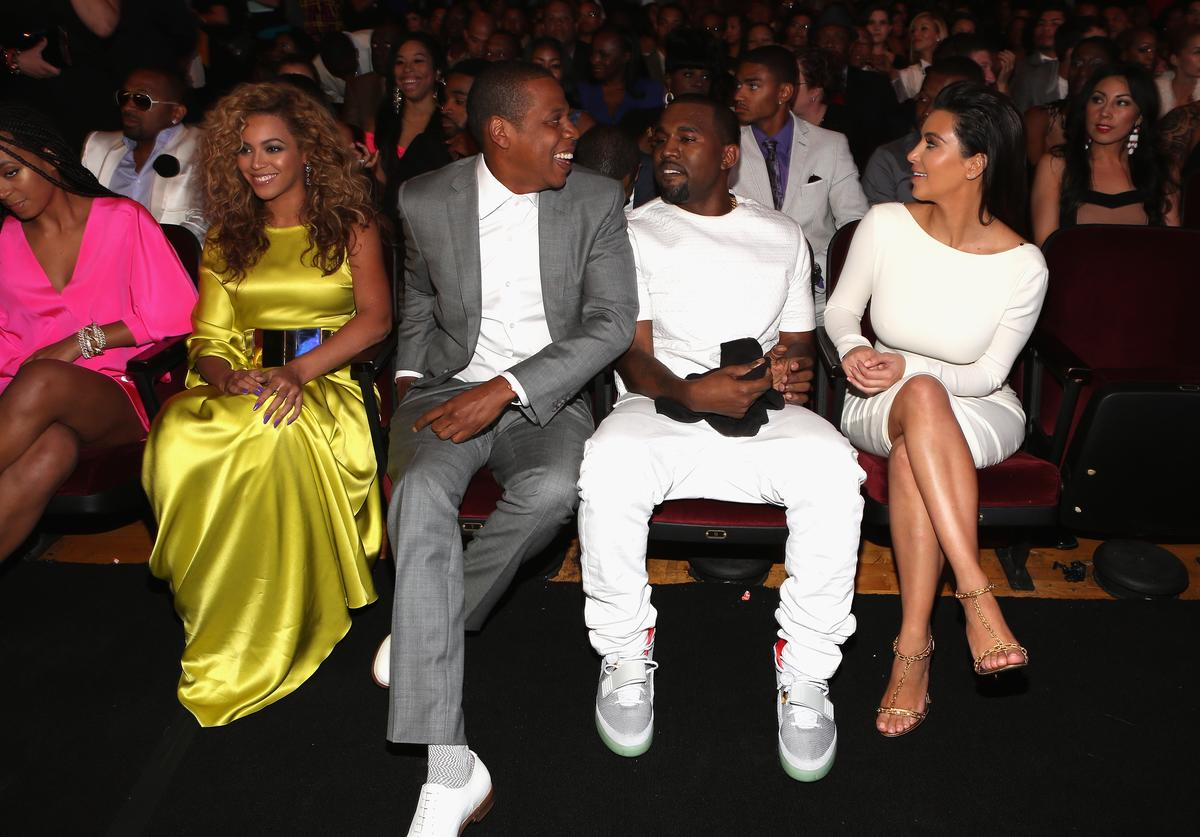 Beyonce, rappers Jay-Z and Kanye West and television personality Kim Kardashian attend the 2012 BET Awards at The Shrine Auditorium on July 1, 2012 in Los Angeles, California