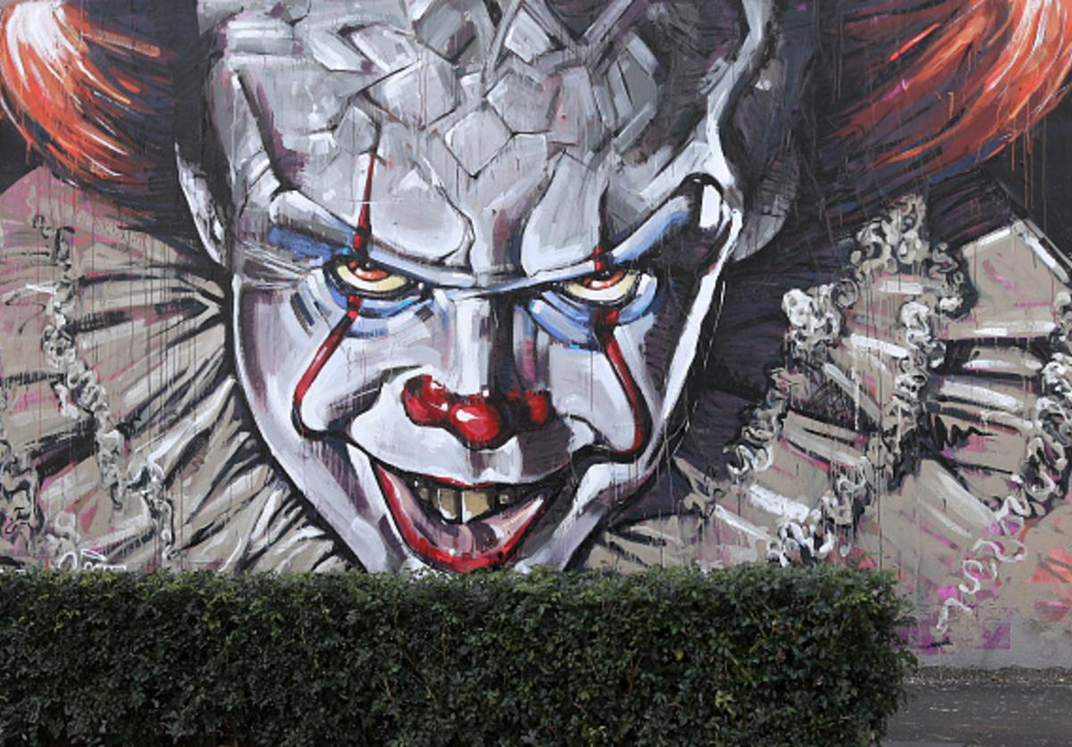 A wall mural of Pennywise the clown from the movie 'IT' painted by Scott Marsh is seen on Cleveland street wall in the suburb of Chippendale on August 28, 2017 in Sydney, Australia.