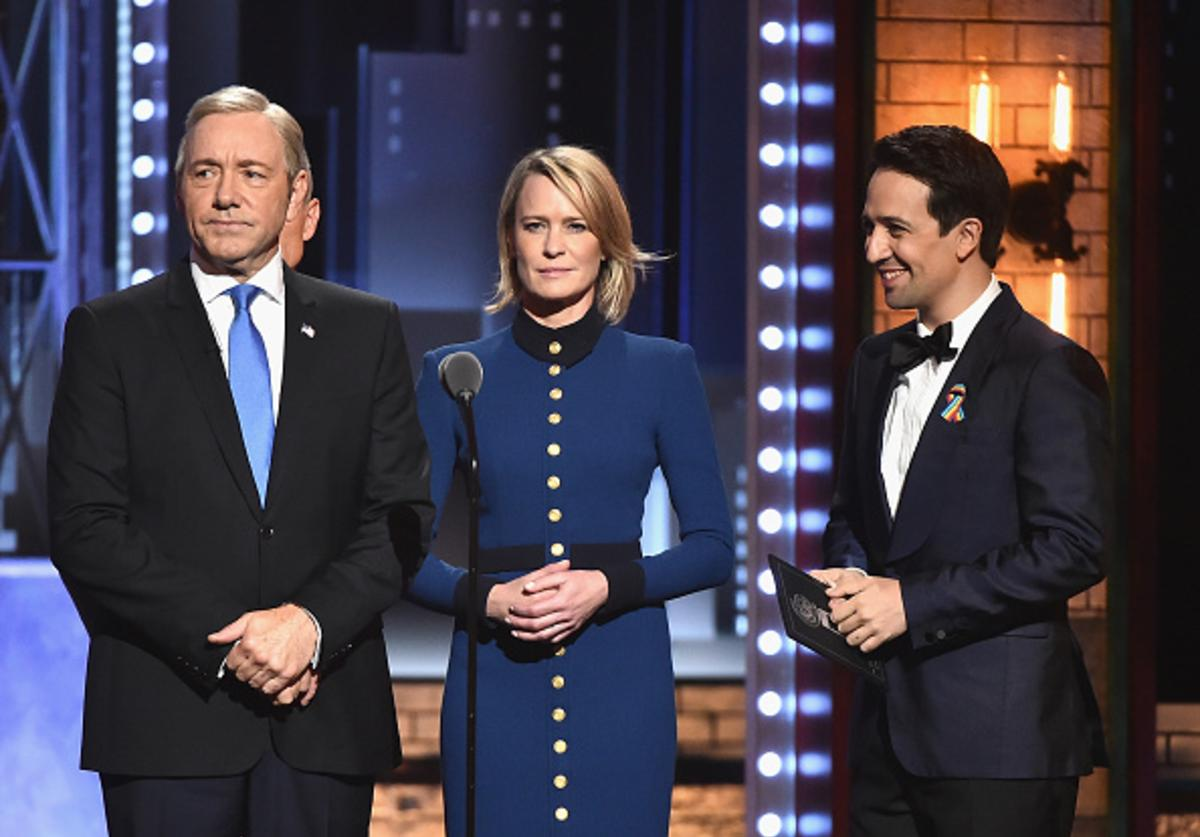 Kevin Spacey, Robin Wright, and Lin-Manuel Miranda speak onstage during the 2017 Tony Awards at Radio City Music Hall on June 11, 2017 in New York City.