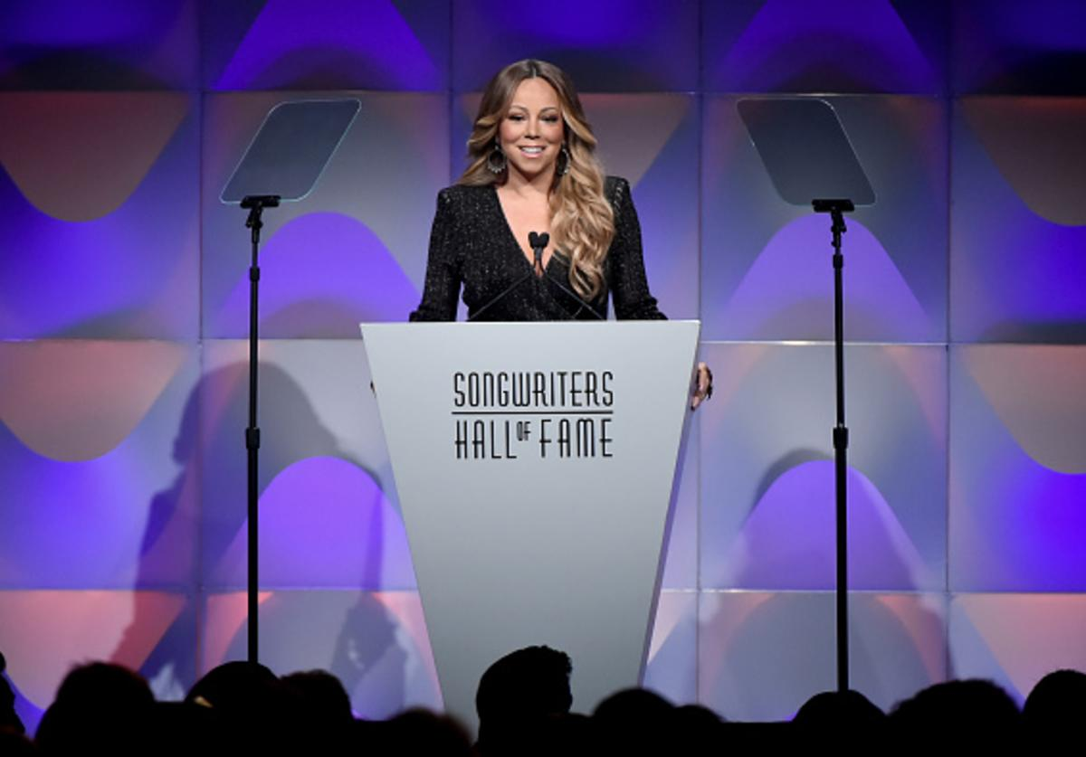 Mariah Carey speaks onstage during the Songwriters Hall of Fame 49th Annual Induction and Awards Dinner at New York Marriott Marquis Hotel on June 14, 2018 in New York City.