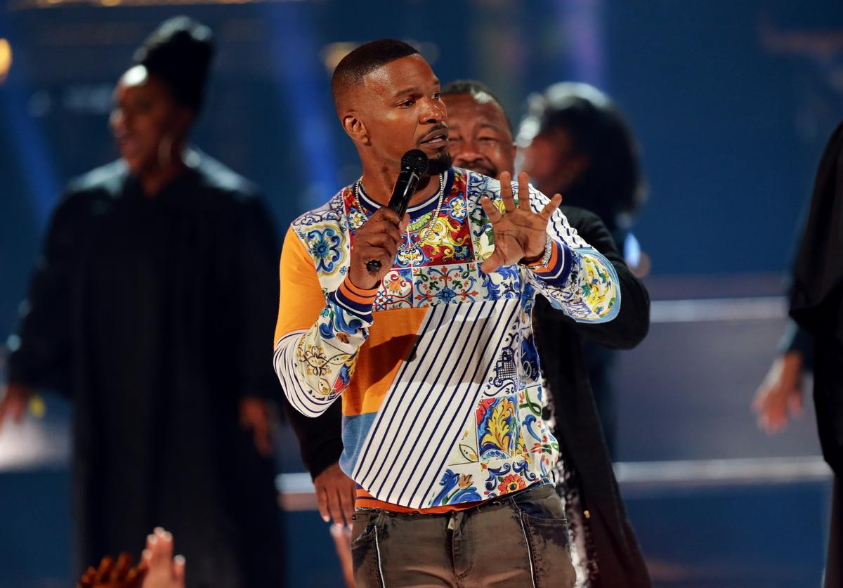 Host Jamie Foxx speaks onstage at the 2018 BET Awards at Microsoft Theater on June 24, 2018 in Los Angeles, California.