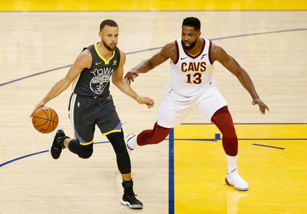 Stephen Curry #30 of the Golden State Warriors drives against Tristan Thompson #13 of the Cleveland Cavaliers in Game 2 of the 2018 NBA Finals at ORACLE Arena on June 3, 2018 in Oakland, California