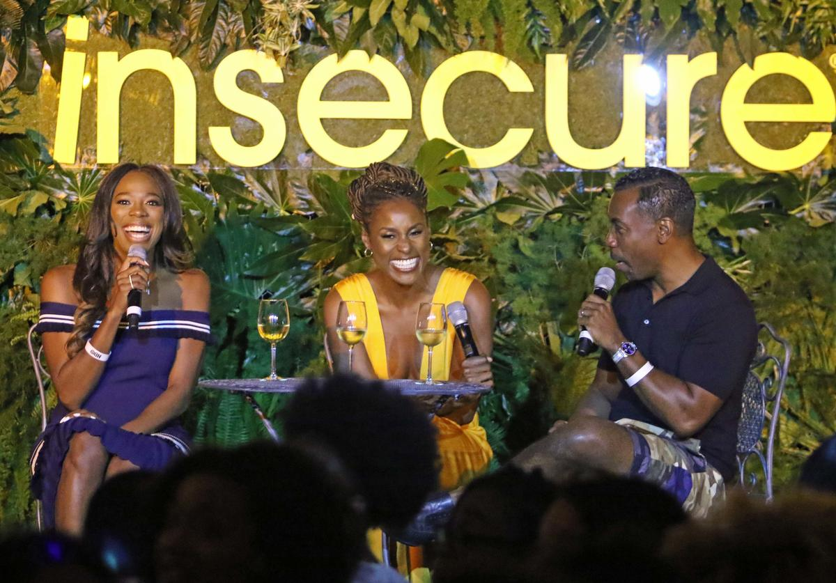 Yvonne Orji, Issa Rae and Prentice Penny all participate in a panel discussion during HBO's Insecure Live Wine Down at Essence Festival at Barnett Hall at the Ace Hotel on July 7, 2018 in New Orleans, Louisiana.