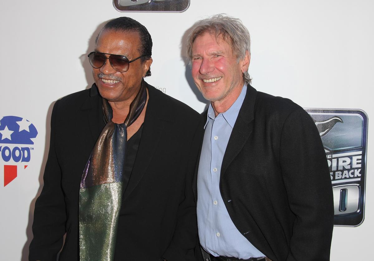 Actors Billy Dee Williams and Harrison Ford arrive at St. Jude's 30th anniversary screening of 'The Empire Strikes Back' at Arclight Cinema on May 19, 2010 in Los Angeles, California.
