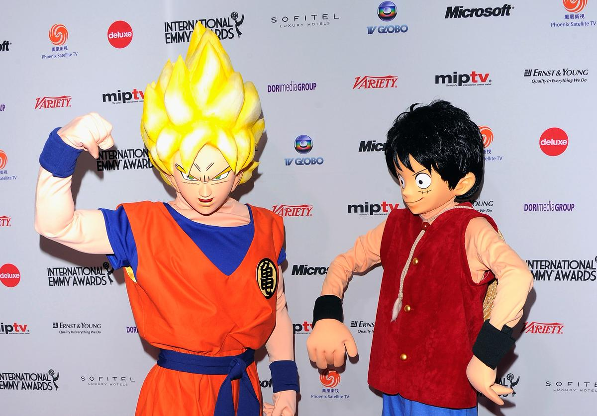 Adventure animation characters Goku and Luffy from 'One Piece' attend the 39th International Emmy Awards at the Mercury Ballroom at the New York Hilton on November 21, 2011 in New York City.