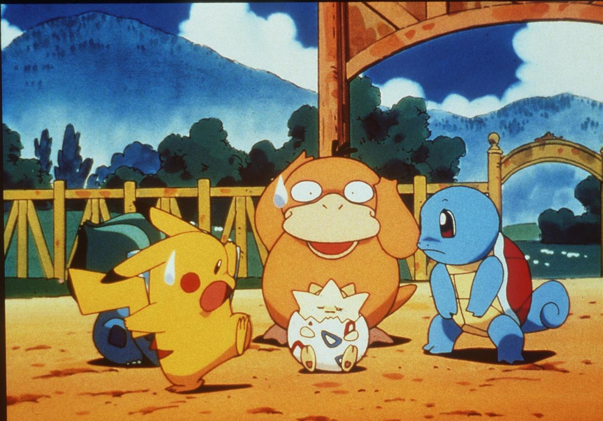 (L To R) Pikachu, Psyduck, Togepy, Squirtle In The Animated Movie 'Pokemon:The First Movie.'