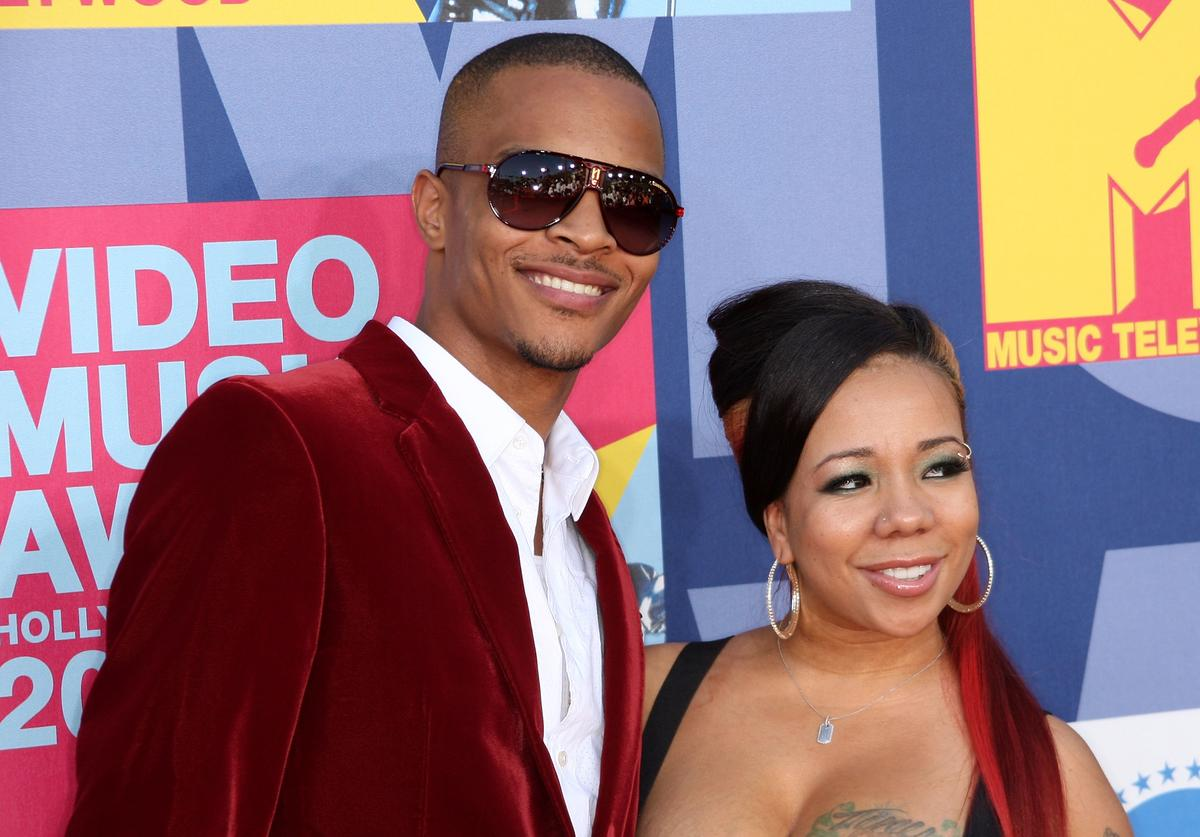 T.I. and Tiny arrive at the 2008 MTV Video Music Awards at Paramount Pictures Studios on September 7, 2008 in Los Angeles, California