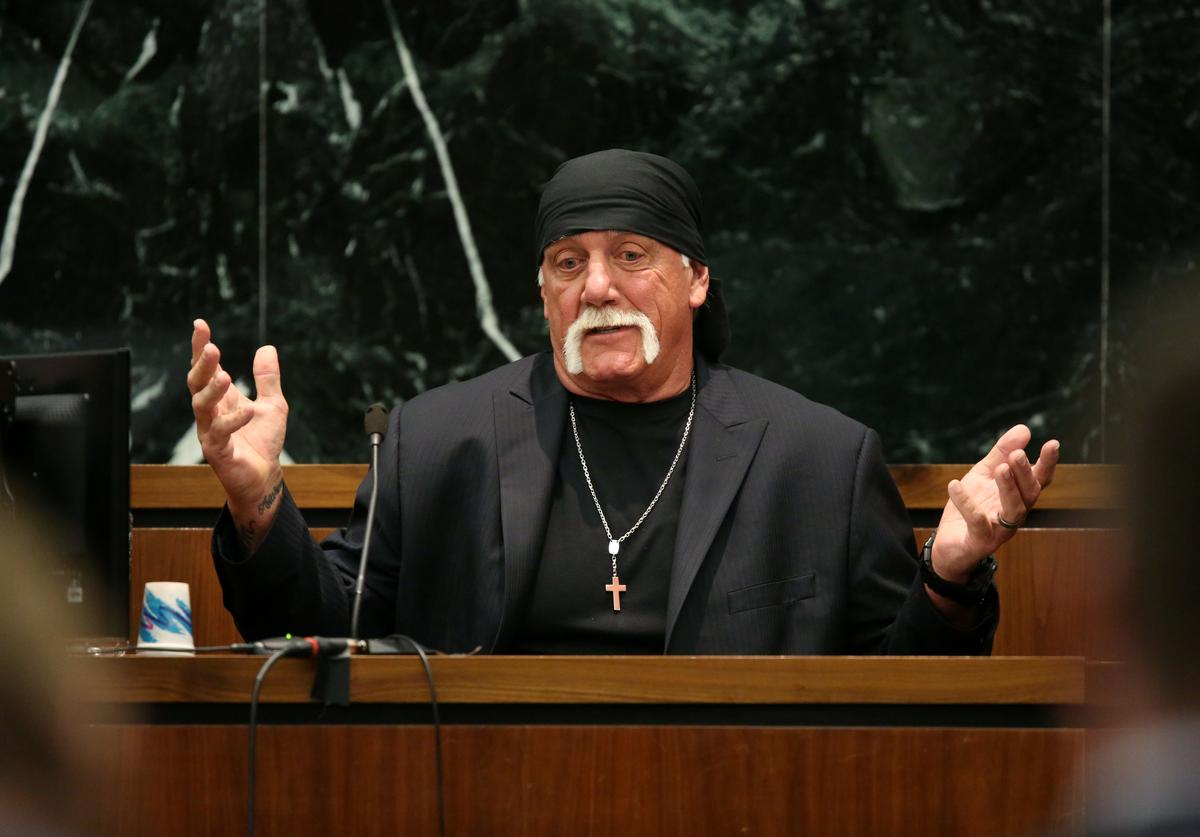 Terry Bollea, aka Hulk Hogan, testifies in court during his trial against Gawker Media at the Pinellas County Courthouse on March 8, 2016 in St Petersburg, Florida. Bollea is taking legal action against Gawker in a USD 100 million lawsuit for releasing a video of him having sex with his best friends wife.