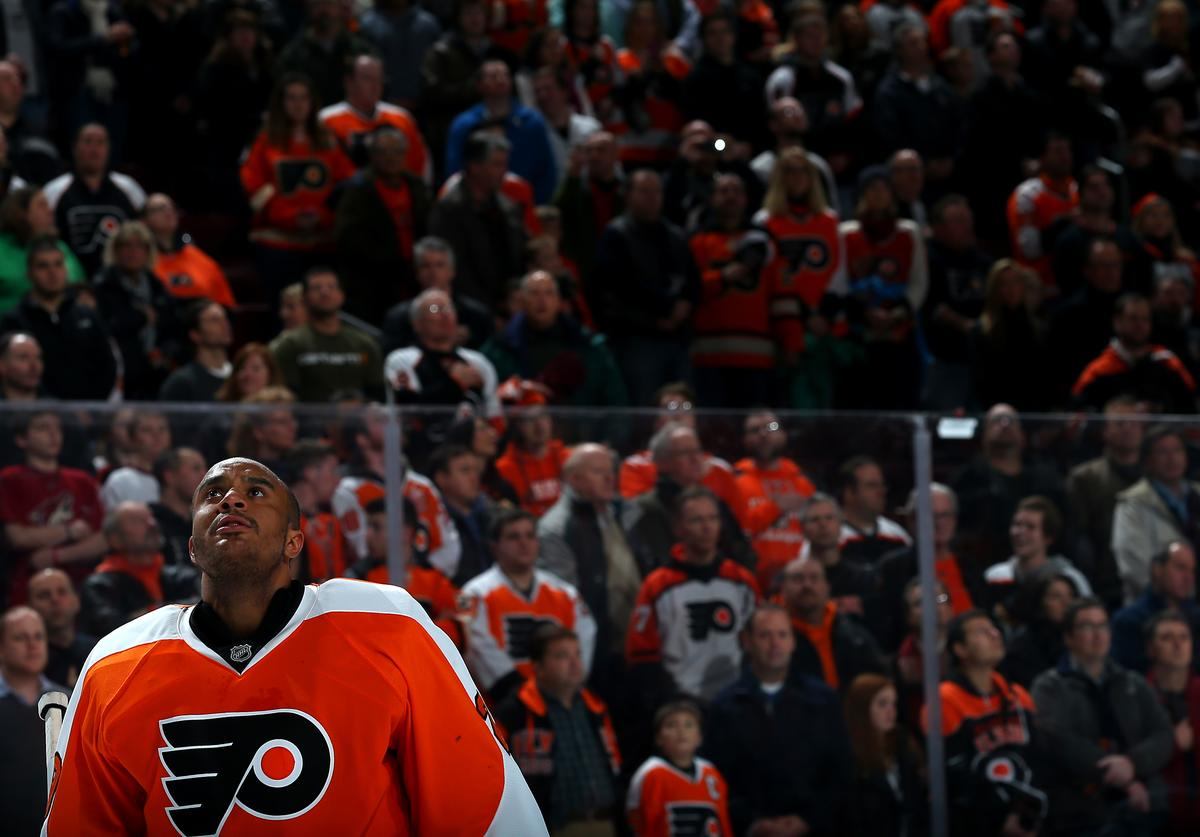 Goalie Ray Emery #29 of the Philadelphia Flyers looks on during the national anthem before playing the Arizona Coyotes at Wells Fargo Center on January 27, 2015 in Philadelphia, Pennsylvania.