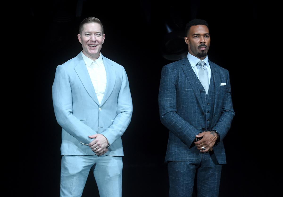 Joseph Sikora and Omari Hardwick attend the Starz 'Power' The Fifth Season NYC Red Carpet Premiere Event & After Party on June 28, 2018 in New York City.