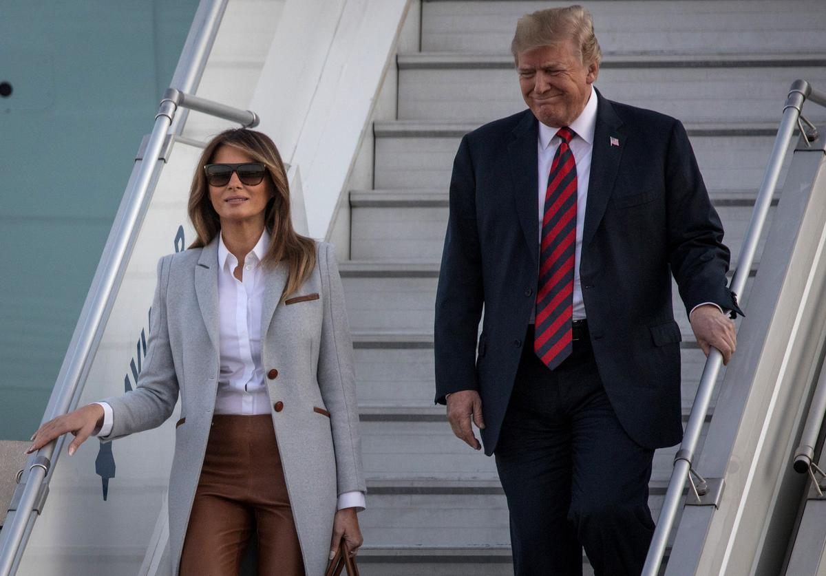 President Donald Trump and first lady, Melania Trump arrive aboard Air Force One at Helsinki International Airport on July 15, 2018 in Helsinki, Finland