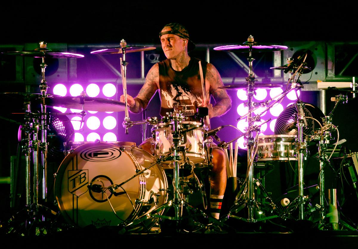 Travis Barker of blink-182 performs onstage at KROQ Weenie Roast 2018 at StubHub Center on May 12, 2018 in Carson, California.
