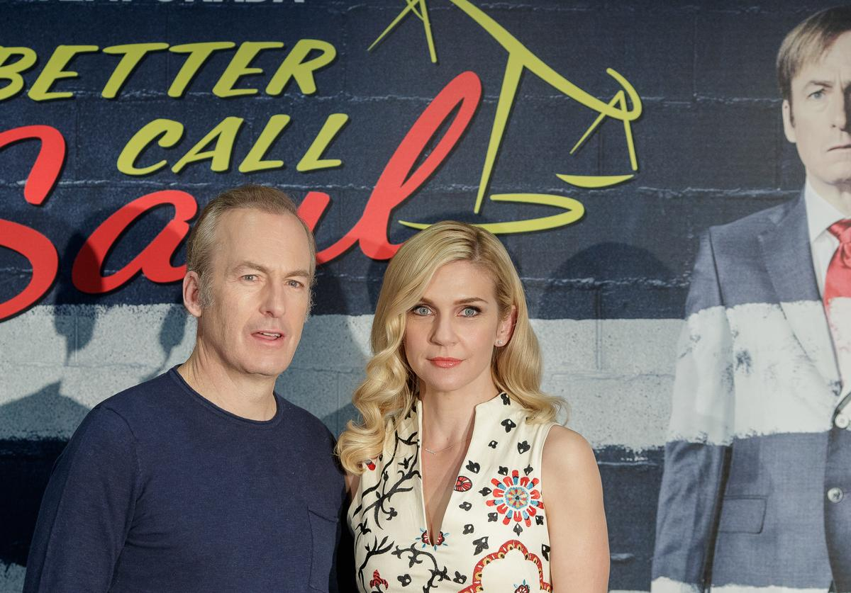 Actor Bob Odenkirk and actress Rhea Seehorn attend the 'Better call Saul' photocall at Telefonica flagship store on April 18, 2017 in Madrid, Spain.