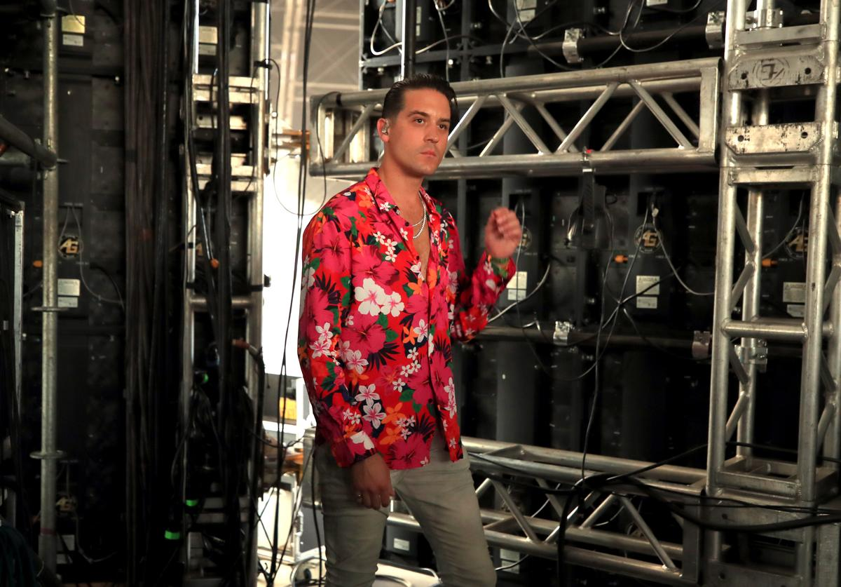 G-Eazy stands backstage during the 2018 Coachella Valley Music and Arts Festival Weekend 1 at the Empire Polo Field on April 15, 2018 in Indio, California.