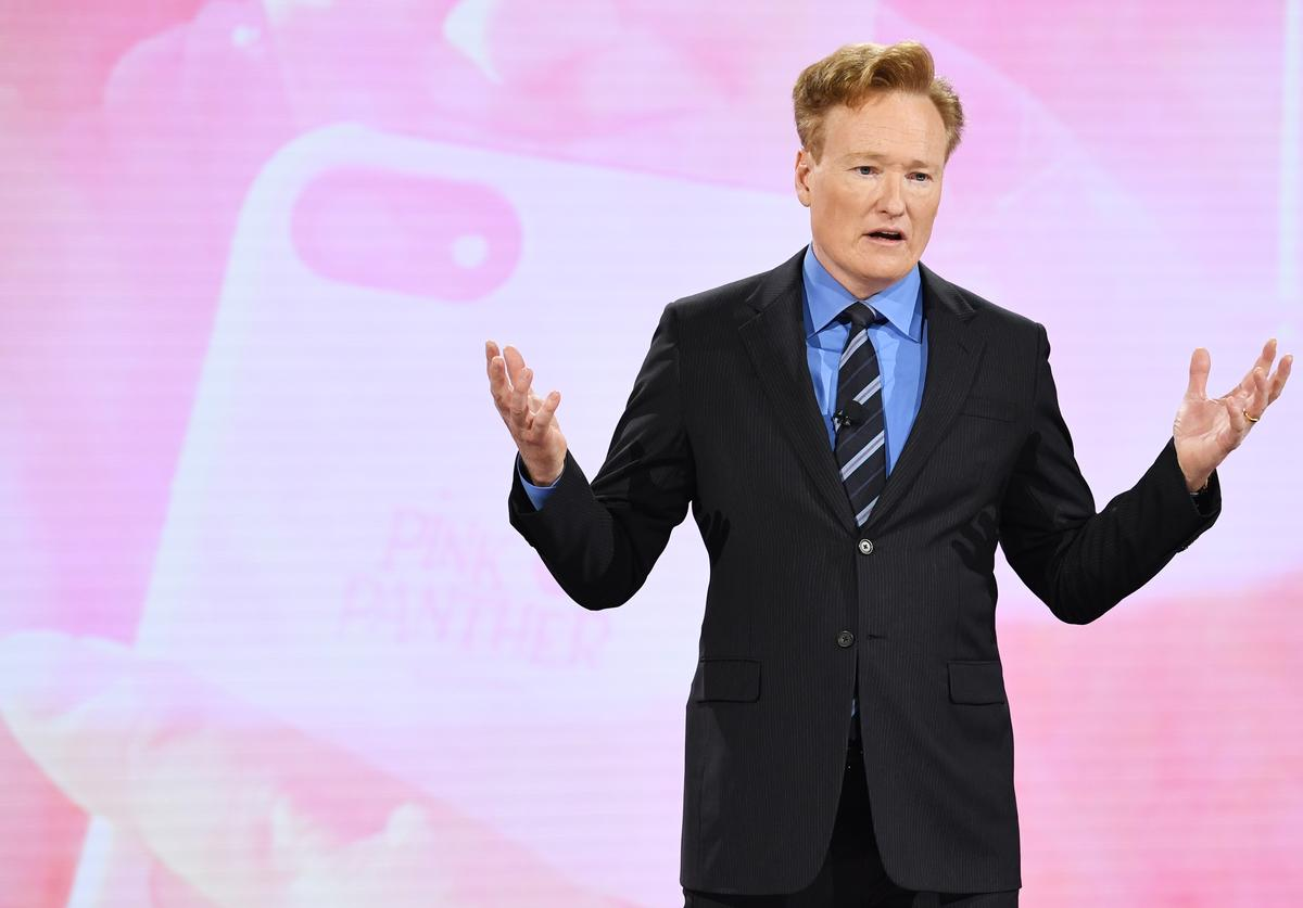 Conan O'Brien of TBS's CONAN speaks onstage during the Turner Upfront 2018 show at The Theater at Madison Square Garden on May 16, 2018 in New York City