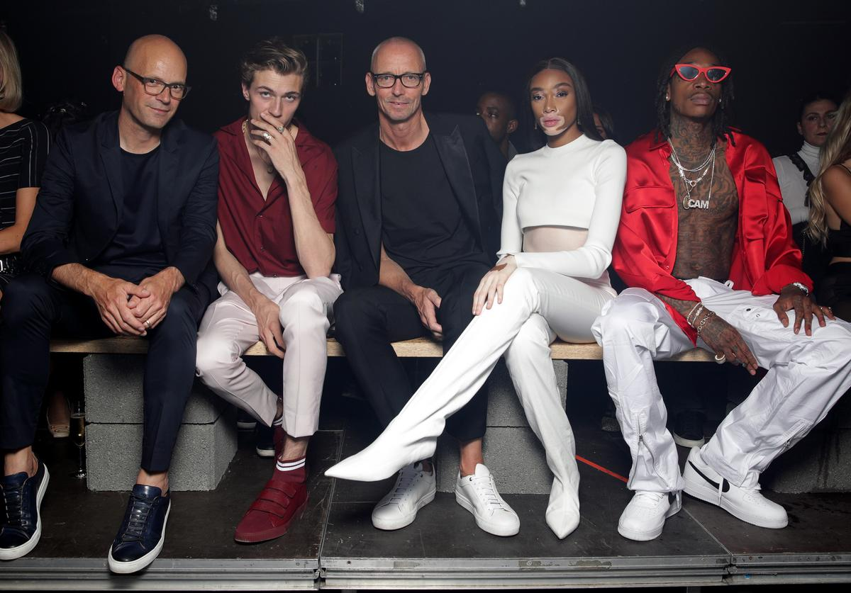 Mark Langer, Lucky Blue, Ingo Wilts, Winnie Harlow and Wiz Khalifa attend the HUGO show during the Berlin Fashion Week Spring/Summer 2019 at Motorwerk on July 5, 2018 in Berlin, Germany