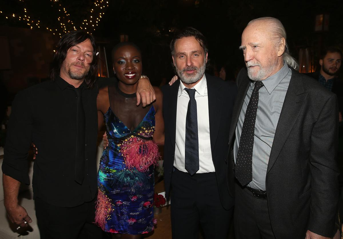 Norman Reedus, Danai Gurira, Andrew Lincoln and Scott Wilson attend The Walking Dead 100th Episode Premiere and Party on October 22, 2017 in Los Angeles, California