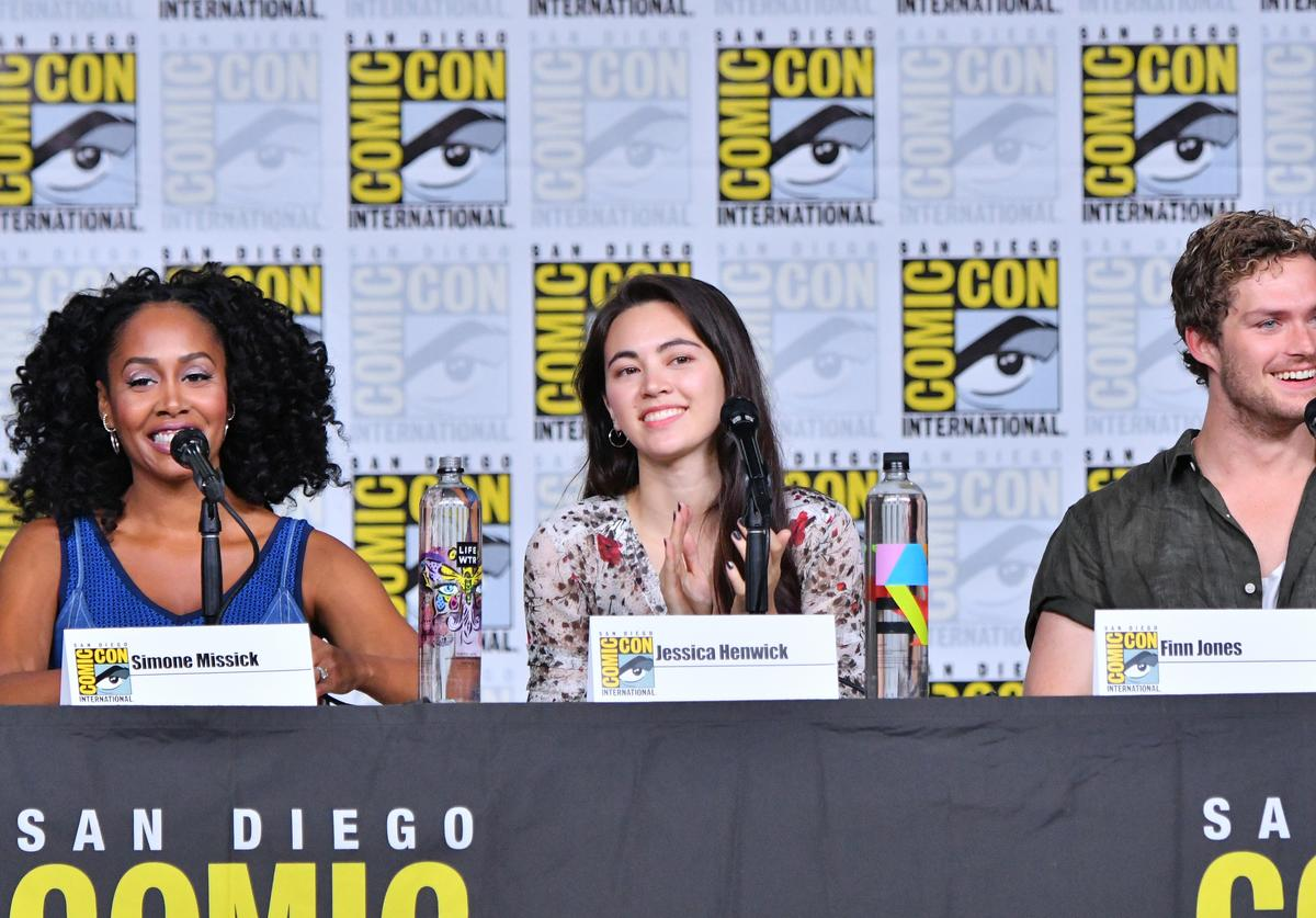 ) Simone Missick, Jessica Henwick and Finn Jones speak onstage at Netflix: Marvel's 'Iron Fist' during Comic-Con International 2018 at San Diego Convention Center on July 19, 2018 in San Diego, California.