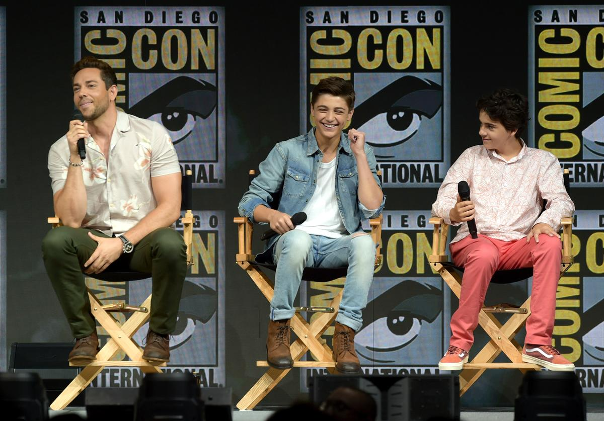 Zachary Levi, Asher Angel and Jack Dylan Grazer speak onstage at the Warner Bros. 'Shazam!' theatrical panel during Comic-Con International 2018 at San Diego Convention Center on July 21, 2018 in San Diego, California.
