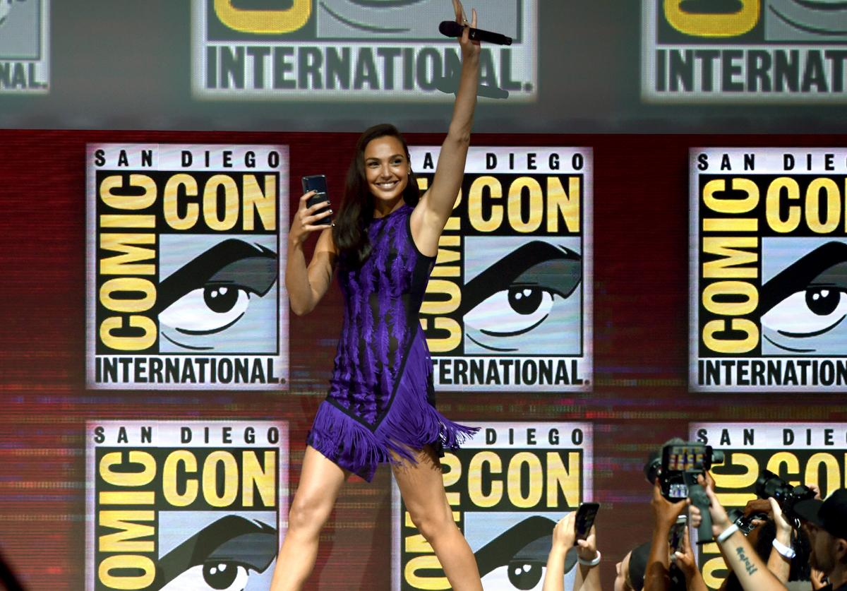 Gal Gadot walks onstage at the Warner Bros. 'Wonder Woman 1984' theatrical panel during Comic-Con International 2018 at San Diego Convention Center on July 21, 2018 in San Diego, California