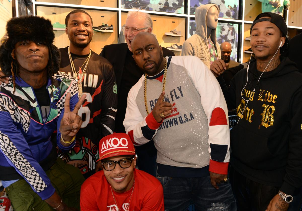 Young Thug, Meek Mill, President of Puma Jay Piccola, Trae tha Truth, Yung Booke, and T.I. (bottom) make a special appearance at The PUMA Lab Powered by Foot Locker at Foot Locker at the Gallery at South Dekalb Mall on February 6, 2014 in Atlanta, Georgia.