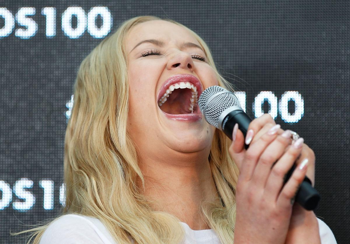 Iggy Azalea speaks during Bonds 100th birthday celebration event at Cafe Sydney on August 19, 2015 in Sydney, Australia