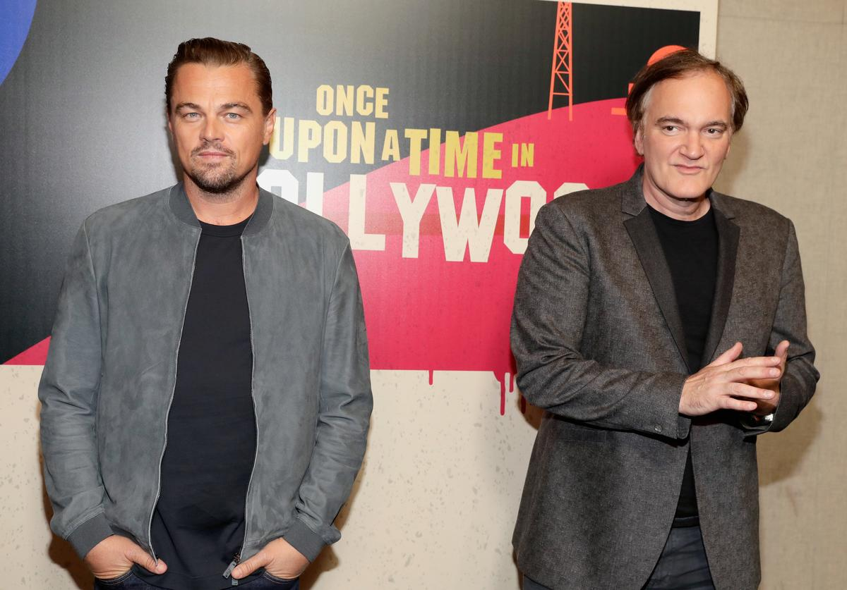 Actor Leonardo DiCaprio (L) and director Quentin Tarantino attend the CinemaCon 2018 Gala Opening Night Event: Sony Pictures Highlights its 2018 Summer and Beyond Films at The Colosseum at Caesars Palace during CinemaCon, the official convention of the National Association of Theatre Owners, on April 23, 2018 in Las Vegas, Nevada.
