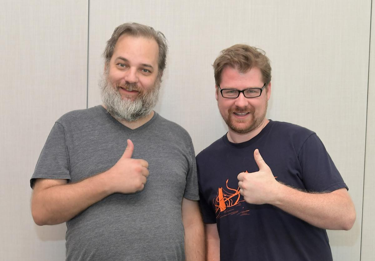 Co-creators Dan Harmon (L) and Justin Roiland at the 'Rick and Morty' L.A. Press Junket on July 17, 2017 in Los Angeles, California.