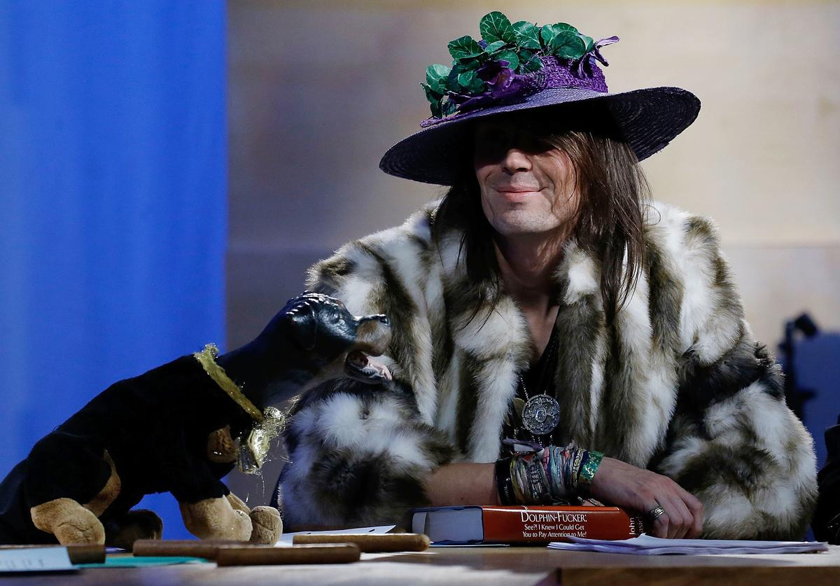 Triumph, the Insult Comic Dog and Jesse Camp attend Hulu Presents 'Triumph's Election Special' produced by Funny Or Die at NEP Studios on February 3, 2016 in New York City.