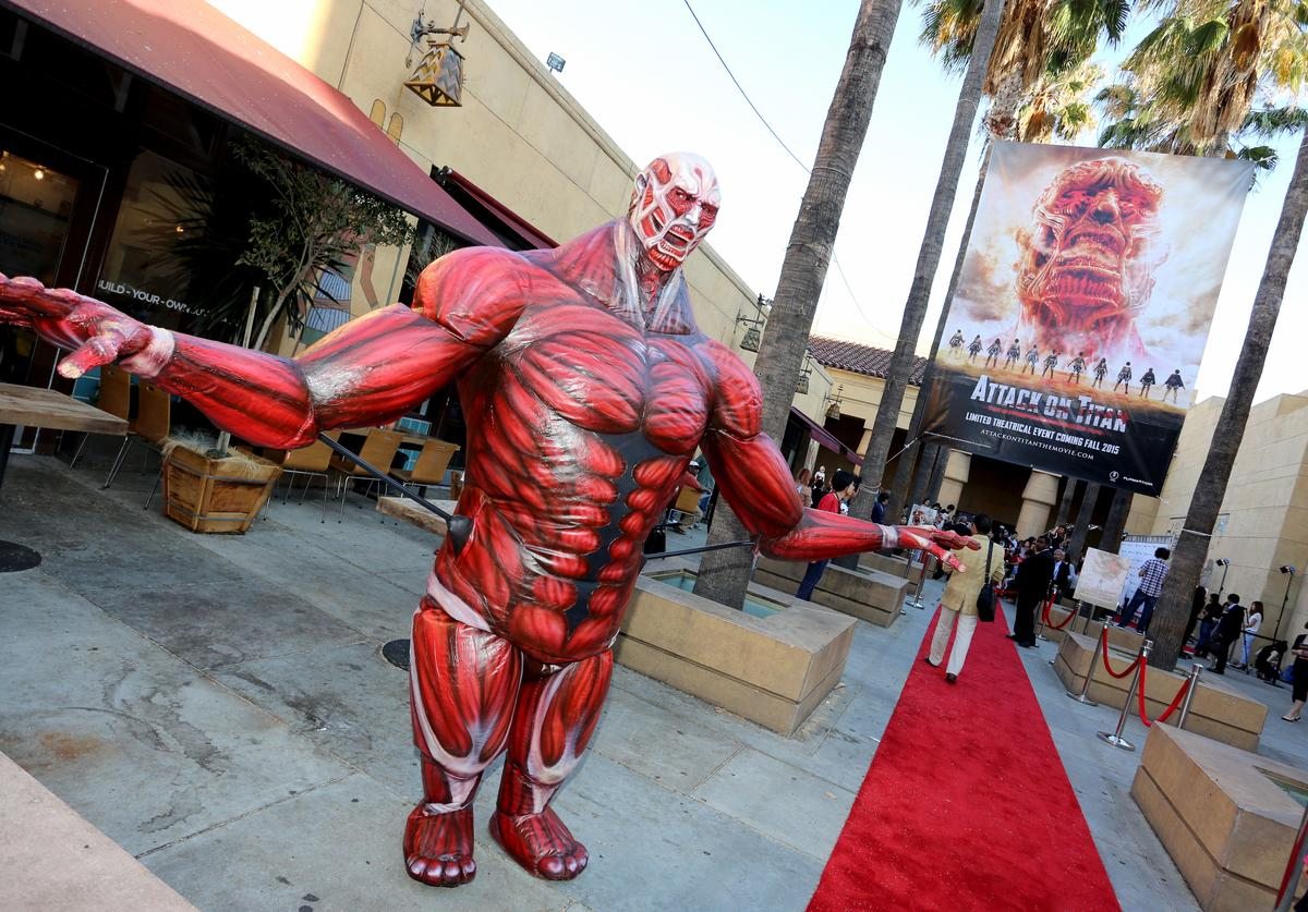 Oversized characters on the red carpet during the 'ATTACK ON TITAN' World Premiere on July 14, 2015 in Hollywood, California.