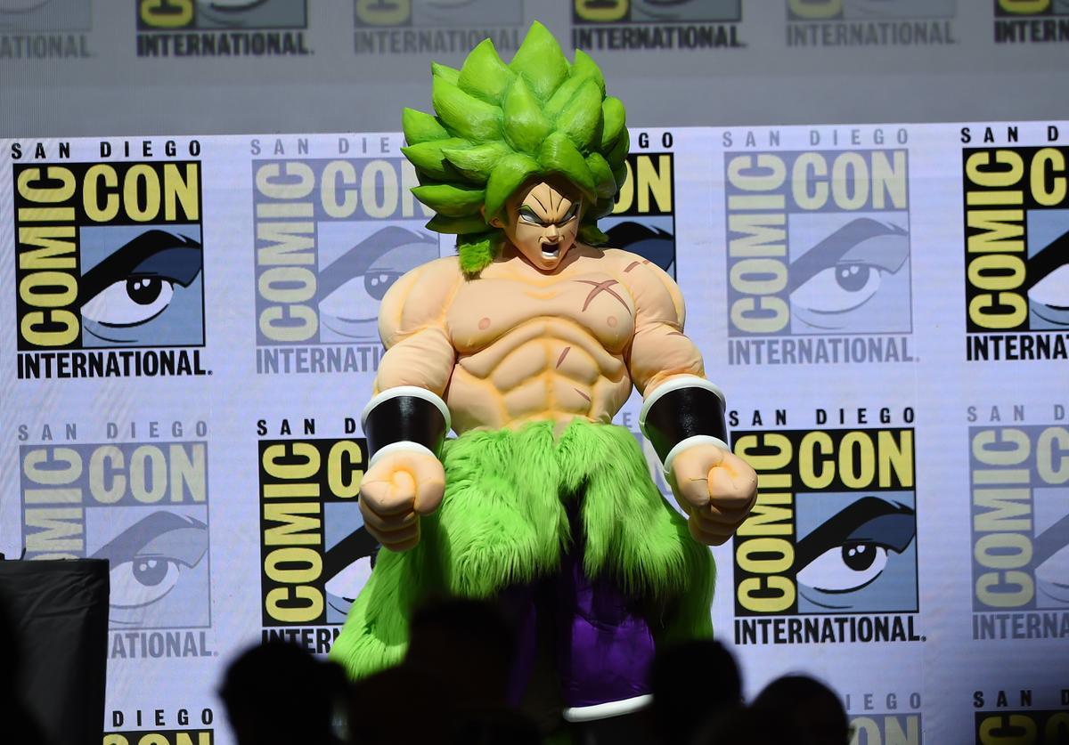 'Dragon Ball Super Broly' appears onstage during the Dragon Ball Super panel during Comic-Con International 2018 at San Diego Convention Center on July 19, 2018 in San Diego, California.