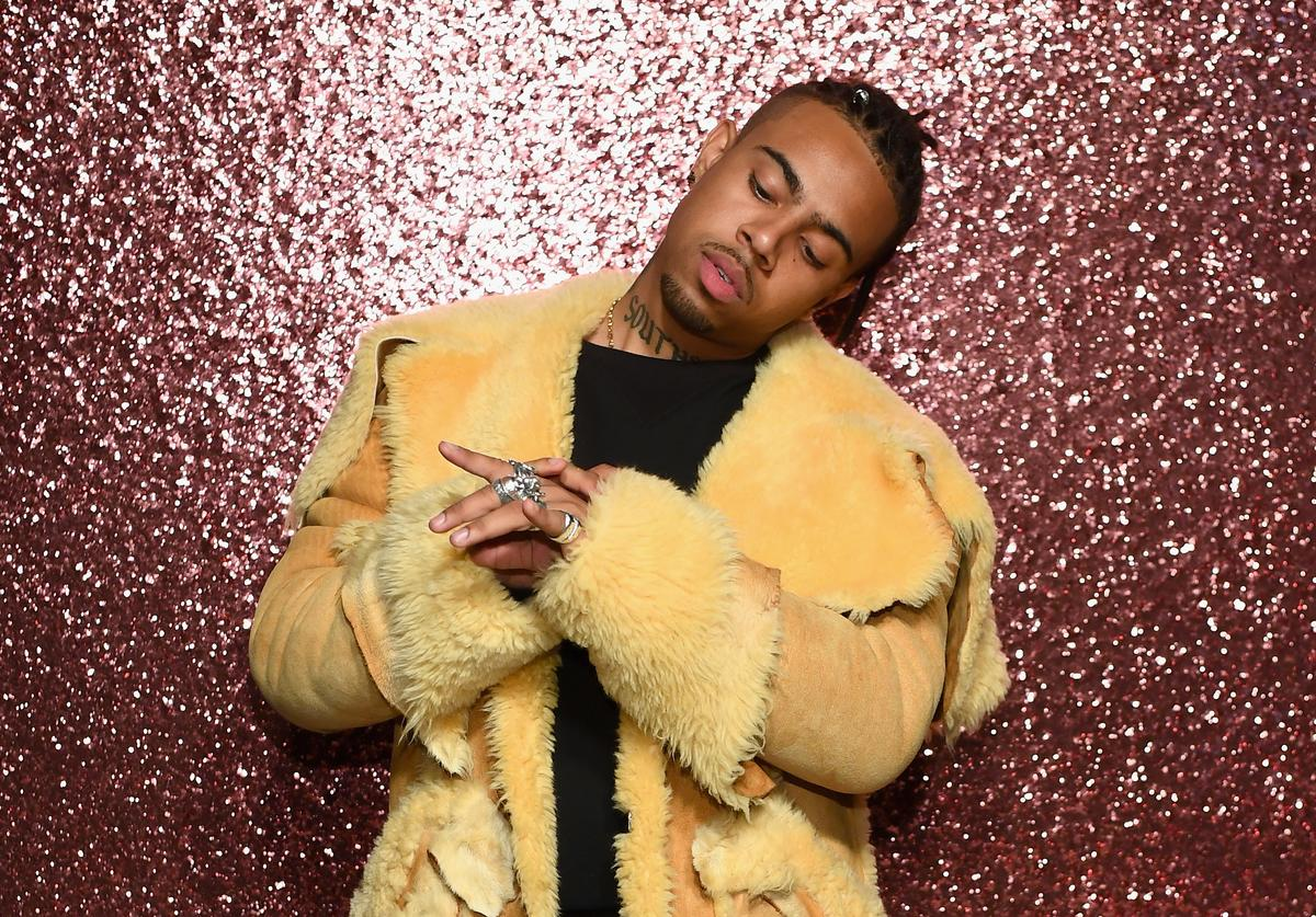 Rapper Vic Mensa poses for a portrait during Coach Spring 2018 Fashion Show during New York Fashion Week at Basketball City - Pier 36 - South Street on September 12, 2017 in New York City.