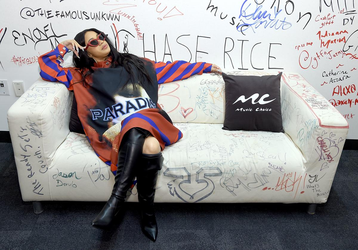Cardi B visits Music Choice at Music Choice on April 10, 2018 in New York City