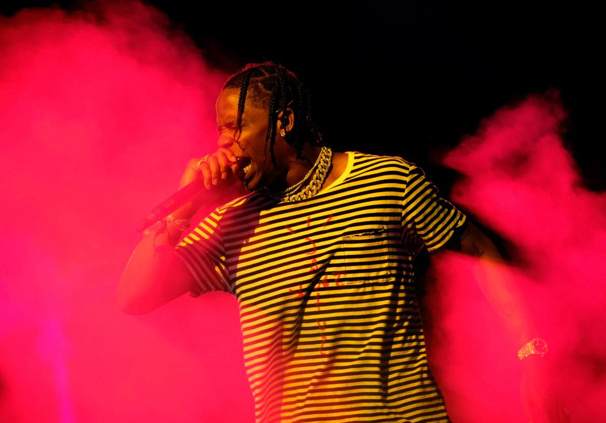 Travis Scott performs at the Outdoor Stage during day 1 of the Coachella Valley Music And Arts Festival (Weekend 1) at the Empire Polo Club on April 14, 2017 in Indio, California