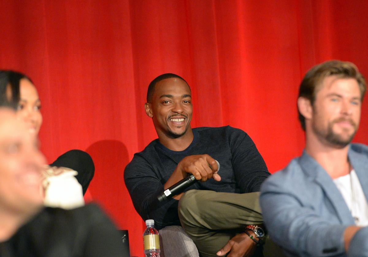 Actors Anthony Mackie (L) and Chris Hemsworth at the Avengers: Infinity War Press Junket in Los Angeles, CA April 22nd, 2018