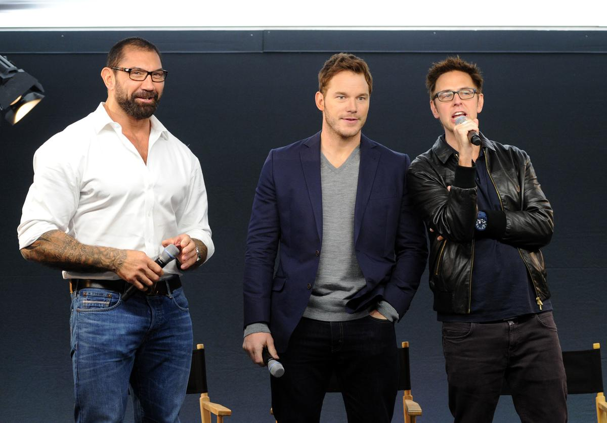 David Bautista, Chris Pratt and James Gunn attend the Meet the FilmMakers event for 'Guardians of the Galacy' on July 25, 2014 in London, England.