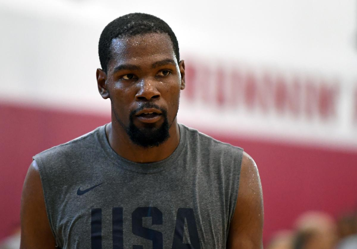 Kevin Durant #52 of the United States attends a practice session at the 2018 USA Basketball Men's National Team minicamp at the Mendenhall Center at UNLV on July 27, 2018 in Las Vegas, Nevada.