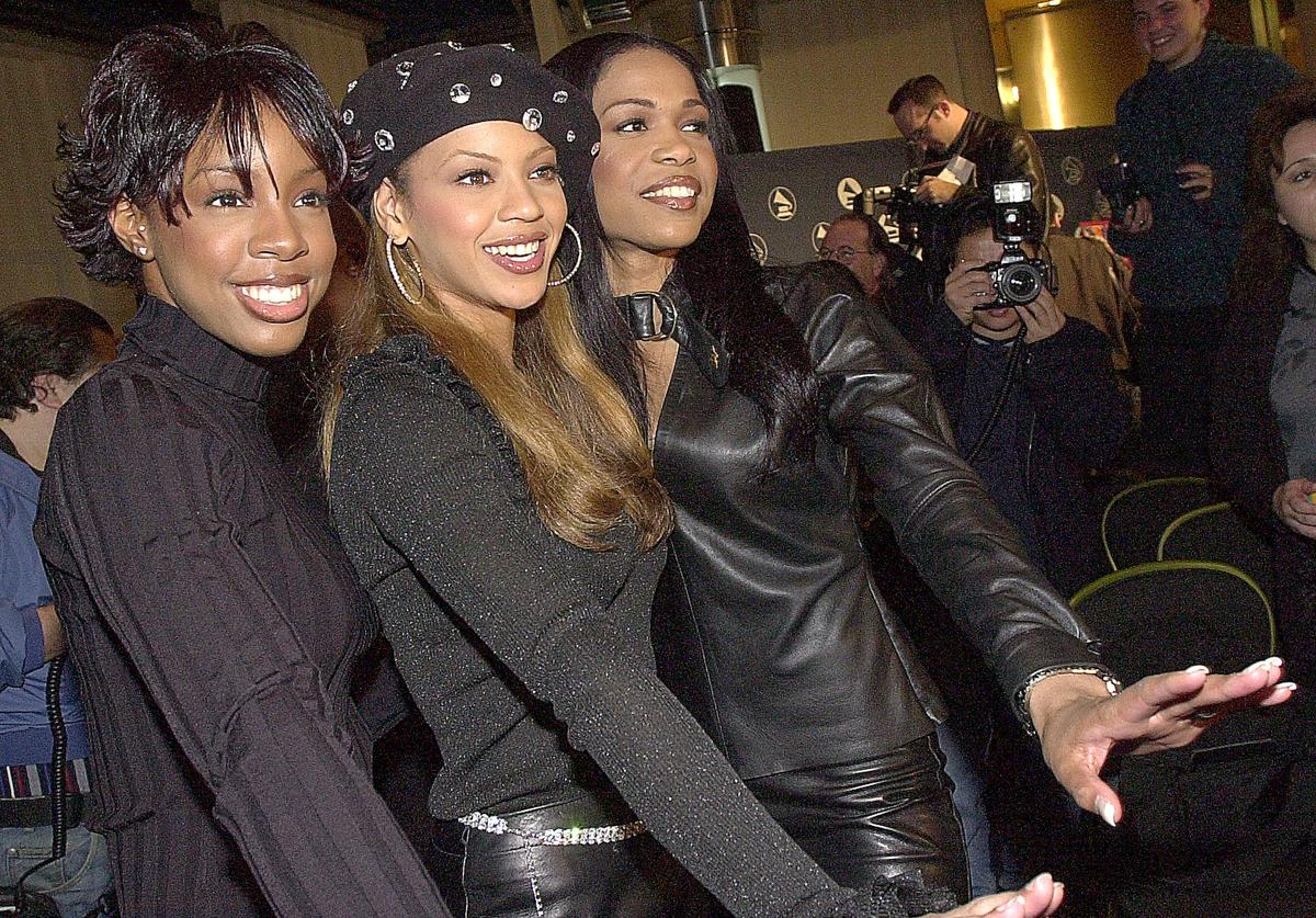 Michelle Williams, Beyonce Knowles, and Kelly Rowland are interviewed after being nominated for a Grammy Award at the 43rd annual Grammy nominations press conference January 3, 2001 in Beverly Hills, CA.