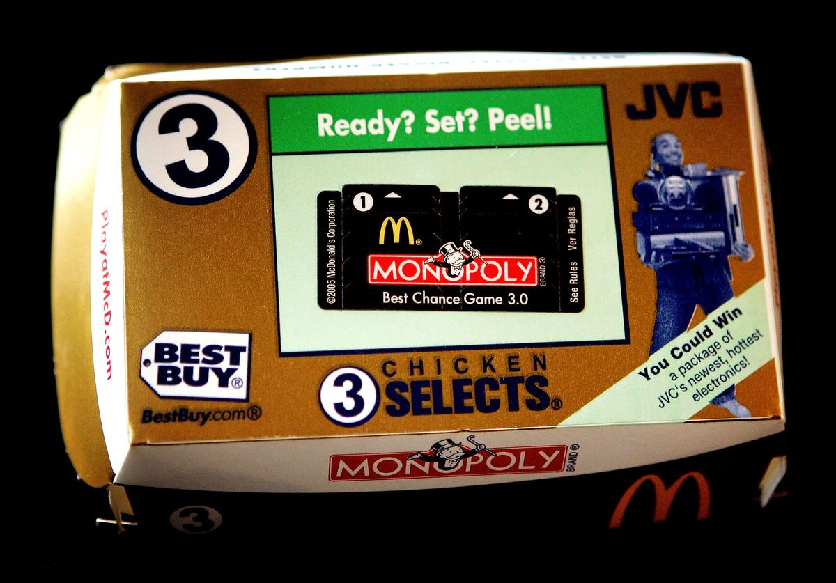 A McDonald's Chicken Selects package with Monopoly game tickets is seen October 5, 2005 in Des Plaines, Illinois.
