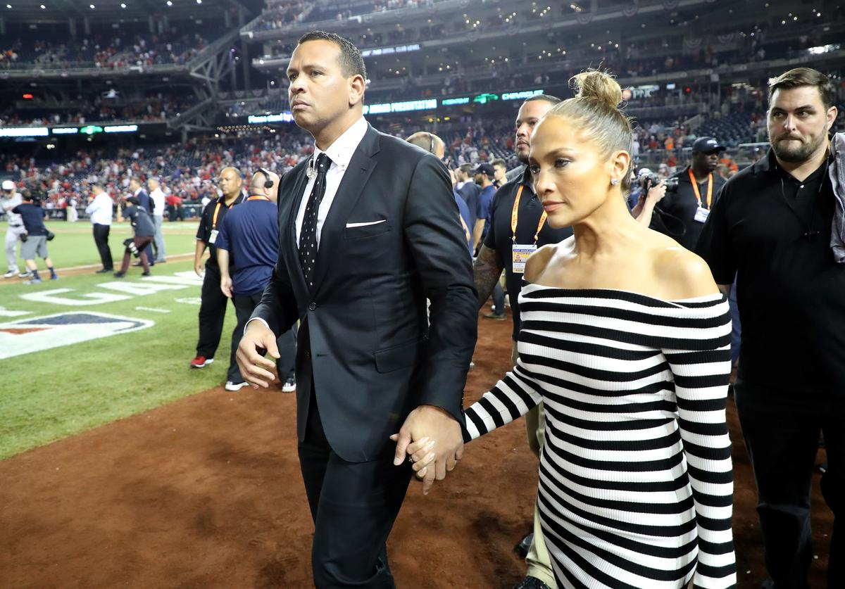 Alex Rodriguez and Jennifer Lopez attend the 89th MLB All-Star Game, presented by Mastercard at Nationals Park on July 17, 2018 in Washington, DC