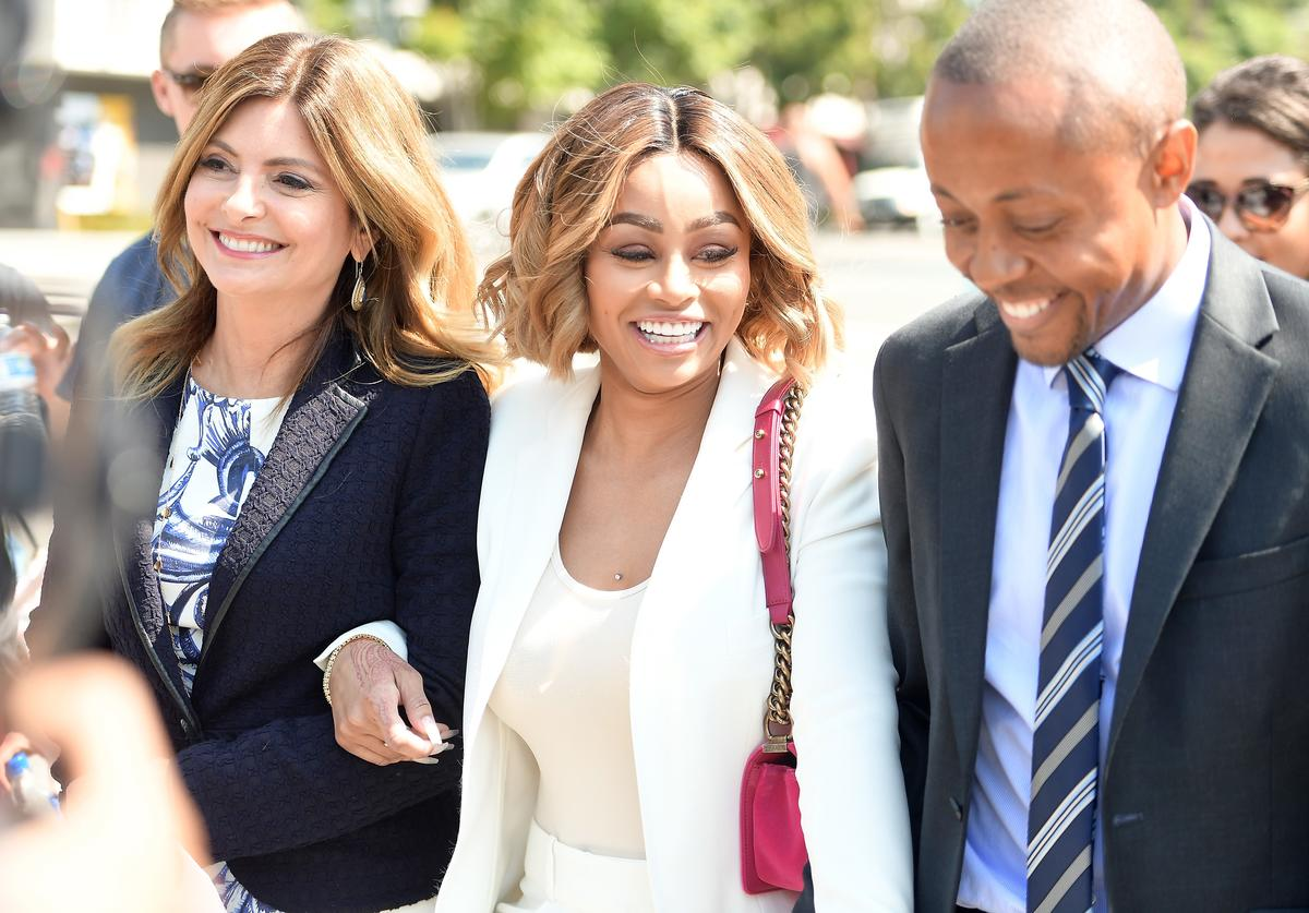 Lisa Bloom (L) and Blac Chyna (C) attend a pre-court hearing press conference at Los Angeles Superior Court on July 10, 2017 in Los Angeles, California